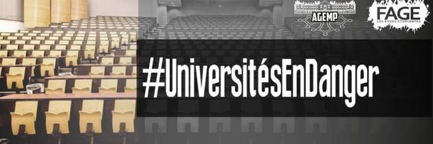 Coupes budgétaires dans les universités, l'AGEMP et la FAGE disent STOP !