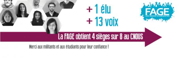 La FAGE obtient 4 sièges sur 8 au CNOUS